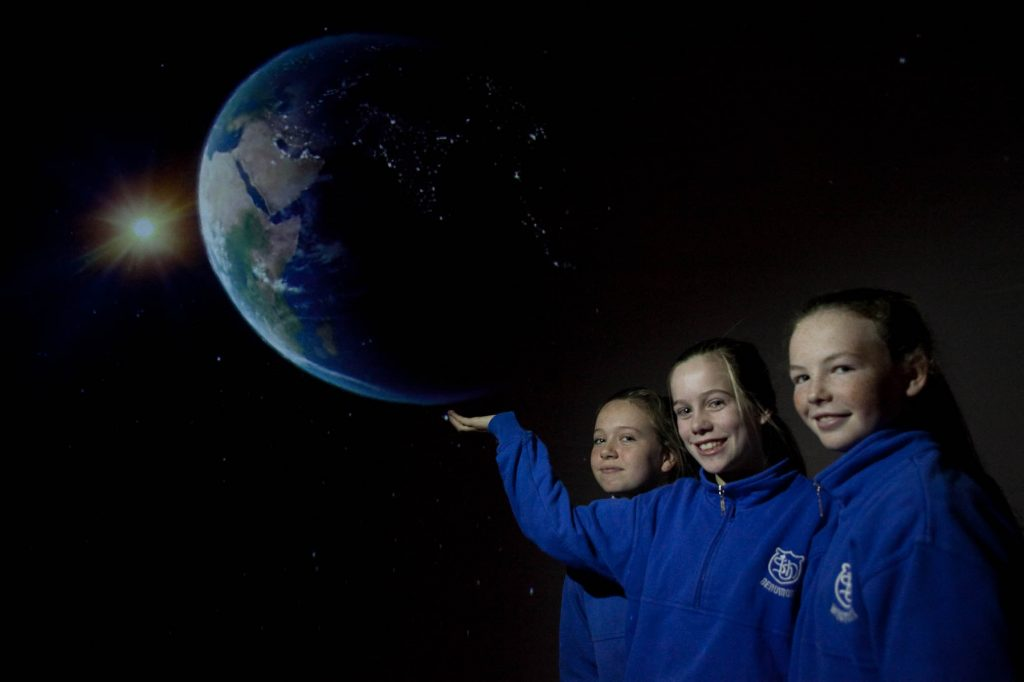 Students Jodie Horgan, Sally Dineen and Ciara O' Leary aged 12 from Beaumont GNS getting involved in the Tara Space project at BlackRock Castle. Picture: Rory Coomey